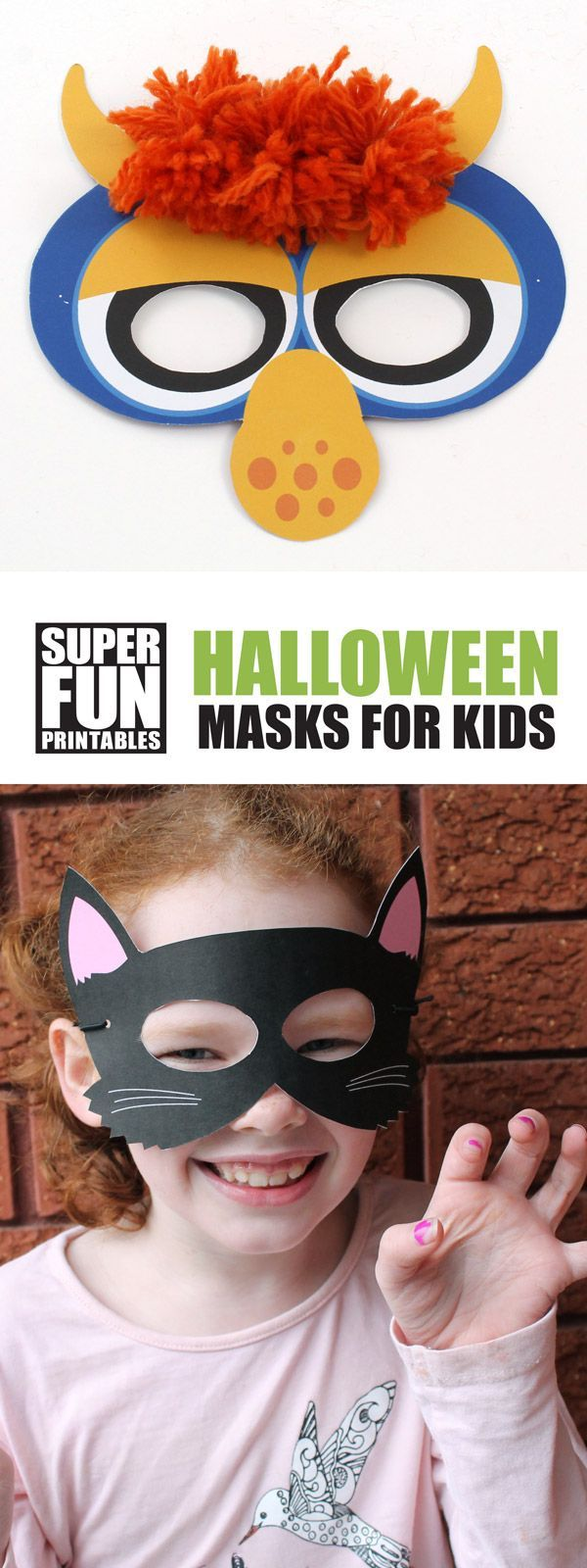 Spooky Halloween masks kids can make. Black cat mask and monster mask in both full colour or colour your own.