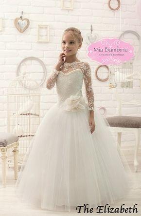 Elfenbein Spitzenkleid Blumenmädchen und erste Kommunion Kleid | Tüll-Kleid | Festzug Kleider | Kleinkind-Kleider oder älter  Atemberaubend