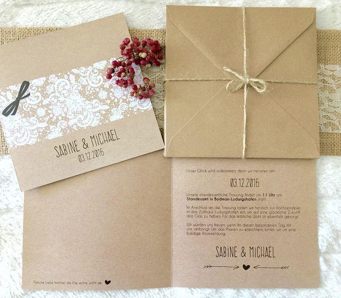 Hochzeit - Hochzeitseinladung - Vintage Hochzeit ♥♥♥ - ein Designerstück von sweetrustic bei DaWanda