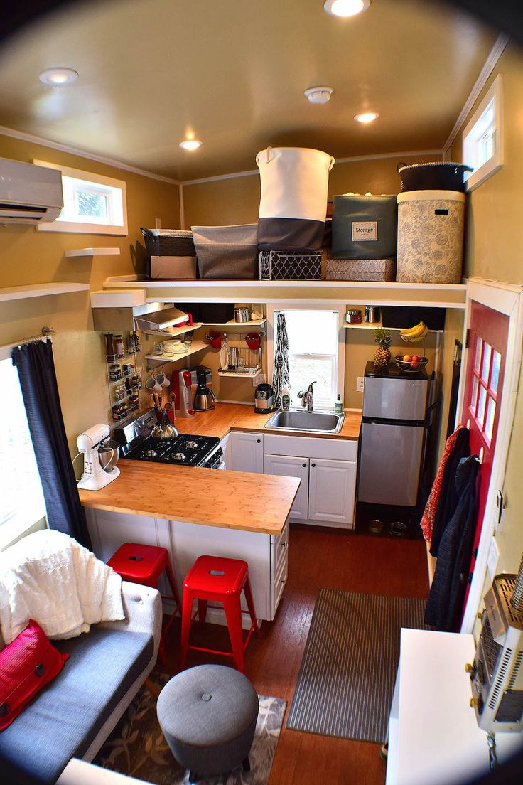 165 square feet tiny house with built-in storage room in Corvallis, Washington.