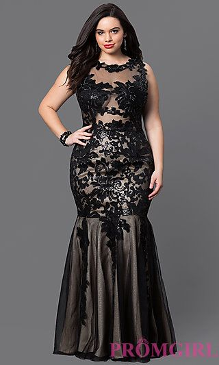 Lace and Sequin Floor Length Dress at PromGirl.com