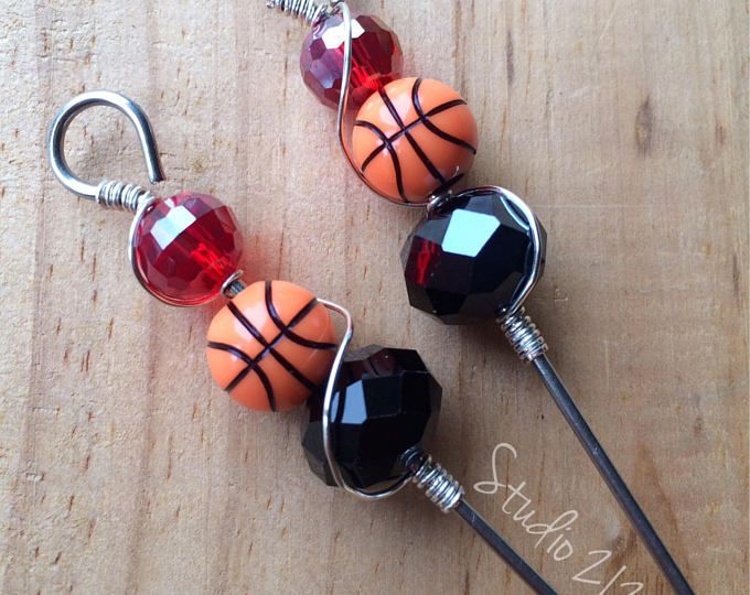LOUISVILLE Cardinals basketball, Food picks , Appetizer picks, Cocktail picks, Martini picks, Bloody Mary picks, Stainless steel, Beads