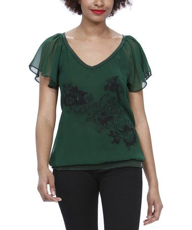 Take a look at this Forest Green Embroidered Flutter Sleeve Top by Desigual on #zulily today!