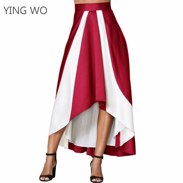 Find More Skirts Information about Blue/Black/Red Contrast White Insert Hi low Maxi Skirt Elegant Plus Size Women Asymmetrical Empire Waistline Big Swing Skirts,High Quality Skirts from Girls Fashion Collection on Aliexpress.com