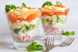 Салат-коктейль Ветчина с сыром