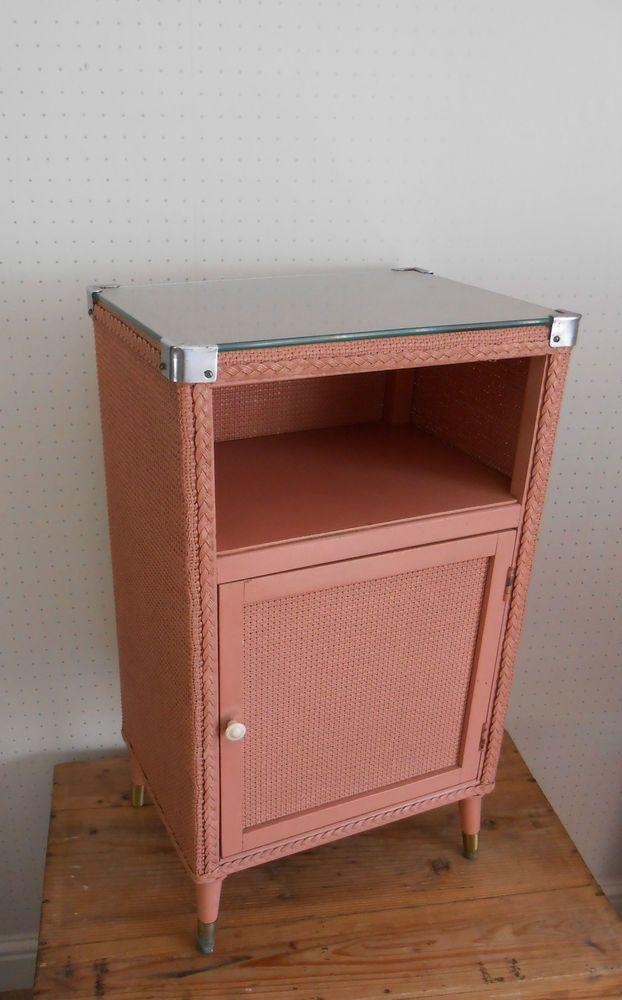 Pink Bedside Table: Vintage Retro Lloyd Loom Style Pink Bedside Table Cabinet