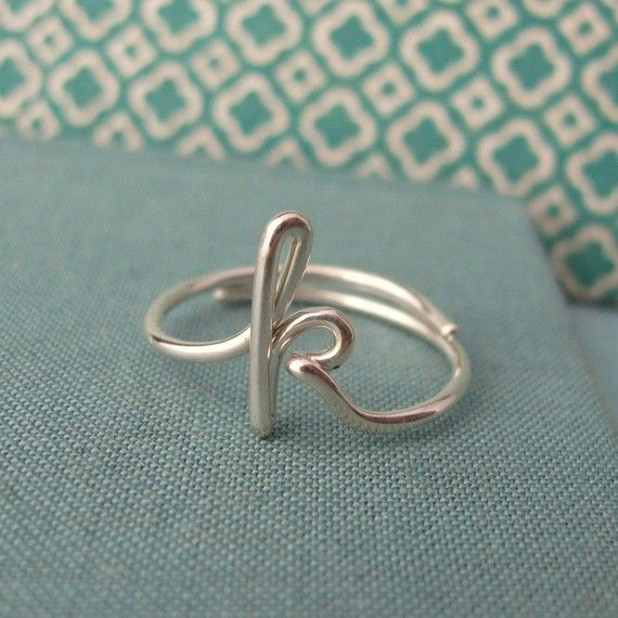 $30.00 love this initial ring from etsy I want it in gold immediately.