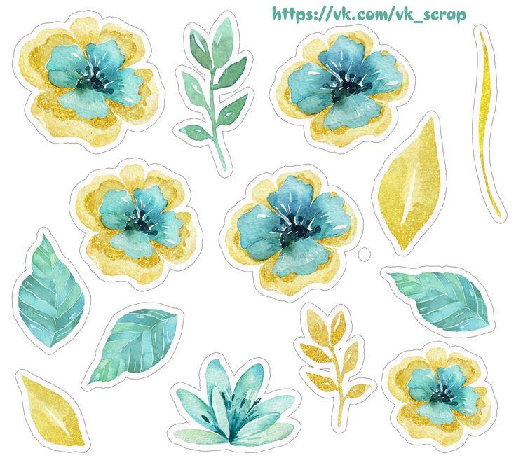 Мятно-золотые цветы, высечки