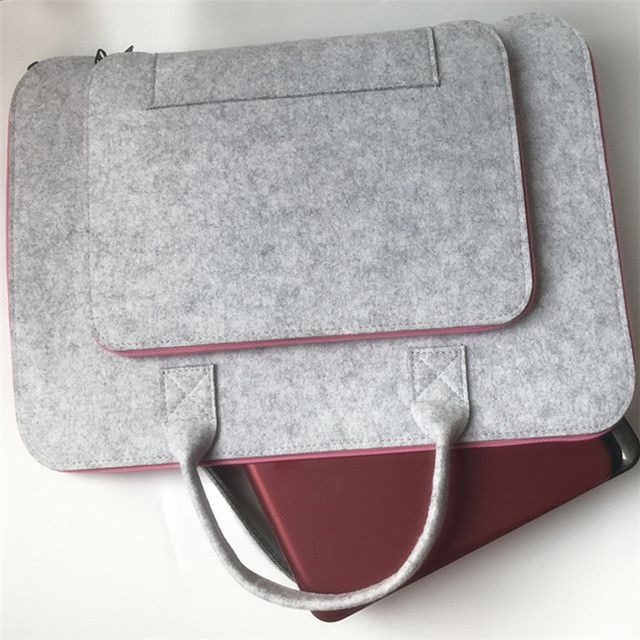 Wool Felt Laptop Sleeve Case 11 12 13 14 15.6 17 Inch Laptop Bag for Women Cover Handlebag Briefcase For Macbook Air Pro 13