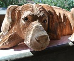 Skulptur Hund Teakholz - www.mangold-interieur.com