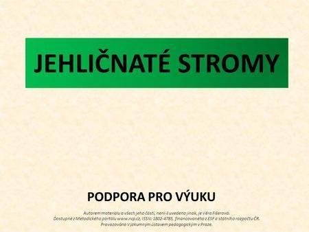 JEHLIČNATÉ STROMY Autorem materiálu a všech jeho částí, není-li uvedeno jinak, je Věra Fišerová. Dostupné z Metodického portálu www.rvp.cz, ISSN: 1802-4785,