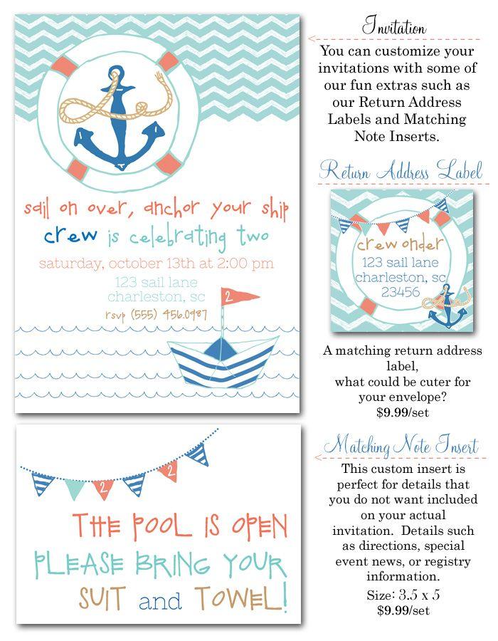nautical, nautical party invites, nautical birthday boy, sailor party invites, anchors, ships, chevron, boy party invites via party box design, preppy party invites