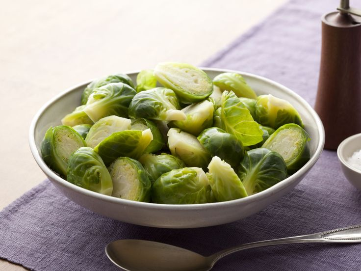 Basic Brussels Sprouts recipe from Alton Brown via Food Network. Melt  butter over cooked Brussels sprouts!