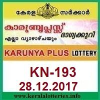 Kerala lottery result of Karunya Plus KN-193