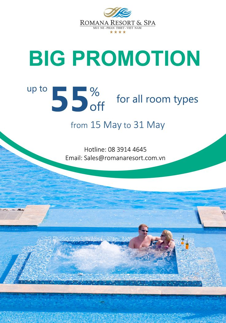 BIG PROMOTION FROM ROMANA RESORT & SPA Applied for all room types from 15 May to 31 May 2015 -	Weekday: + 3 Bed Room Villa: 50% off + Deluxe Ocean View: 50% off -	Weekend (Fri & Sat): + 3 Bed Room Villa: 45% off + Deluxe Ocean View: 40% off *Pool Villa (Ocean View & Beach Front): 55% off for all week Don't miss it! For more information, please contact: Hotline: 08 3914 4645 Email: sales@romanaresort.com.vn #romana #bigpromotion