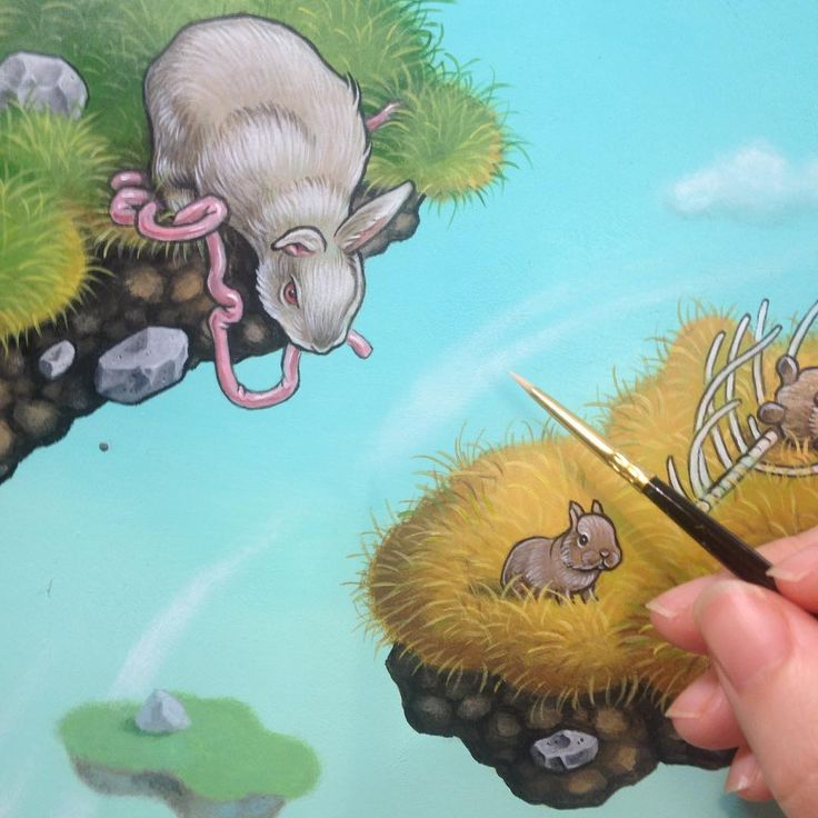 Nom nom nom. Detail of an almost finished work in progress. Acrylic paint on Masonite board.