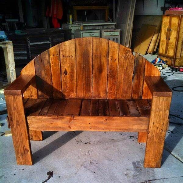 recycled pallet rustic bench #palletbench