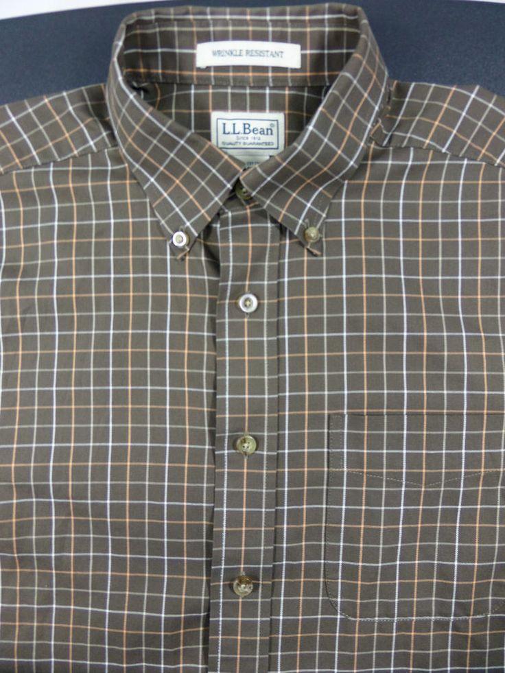 Ll bean wrinkle resistant dress shirt oxford plaid sz for Ll bean wrinkle resistant shirts