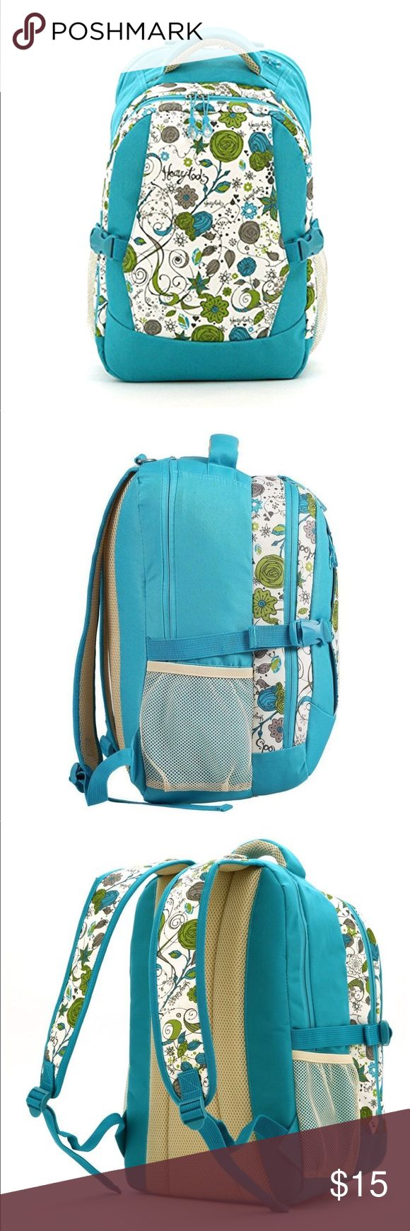 """Floral backpack style diaper bag 👶 Floral backpack style diaper bag with multiple compartments for easy access and organization.Approx dimension 19 inches x 14 inches. Straps are adjustable.Last photo shows an area to put a wipes container for easy access.First two photos are to show color and design outside of the stock photos. I don't know why the stock photo shows the lettering differently than the actual bag. The actual bag has lettering that says """"happy baby."""" *Stock photo shows…"""