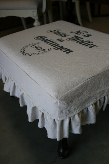 DIY drop cloth ottoman slipcover