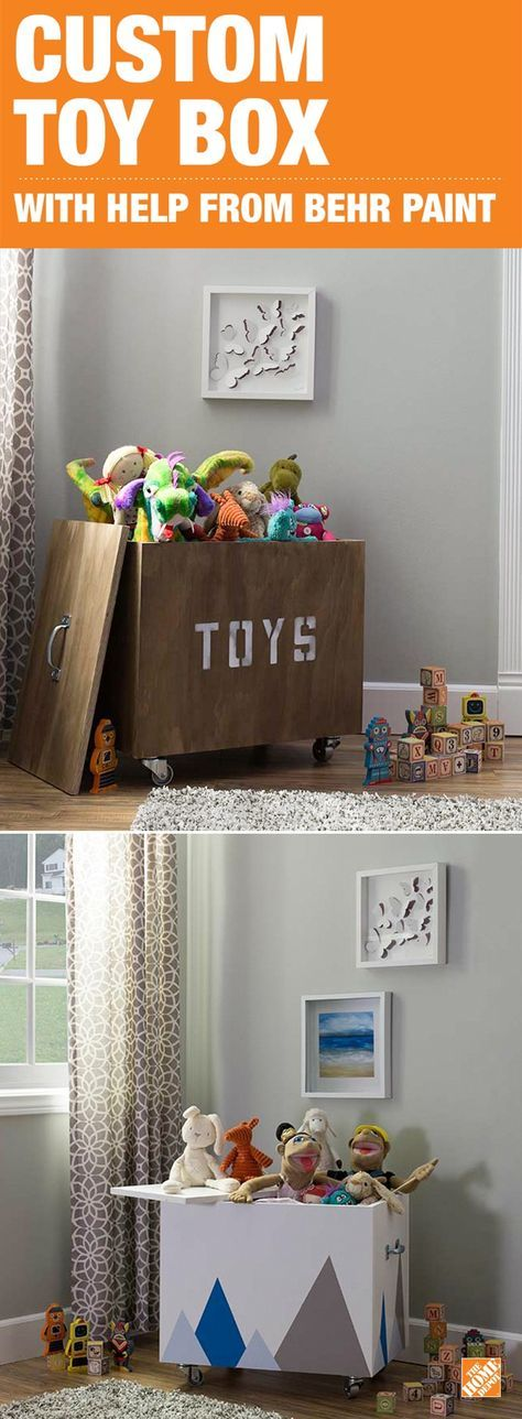 Restore order in your home and hide clutter with this DIY toy box. Customizable to suit your style and needs, this wooden toy box creates more storage and organizes your space. Whether you're going for a rustic or whimsical look, BEHR paint can help you create this box for your boy or girl. Click to get the how-to on our blog.