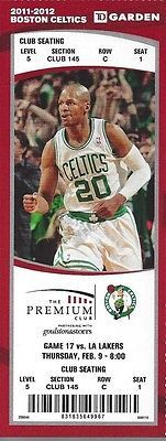 2011-2012 NBA LA LAKERS @ BOSTON CELTICS FULL UNUSED BASKETBALL TICKET - KOBE