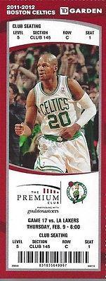 2011-2012 NBA LA LAKERS @ BOSTON CELTICS FULL UNUSED BASKETBALL TICKET - KOBE