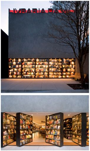 Livraria de Vila bookstore in Sao Paulo by Isay Weinfeld Arquitecto - a pivoting book facade that also acts as doors http://www.isayweinfeld.com/ #architecture #design #books