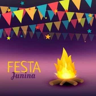 Festa junina background with campfire