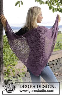 "Knitted DROPS shawl with lace pattern. Shown in ""Lace"" and ""BabyAlpaca Silk"" from yarn group A. ~ DROPS Design"