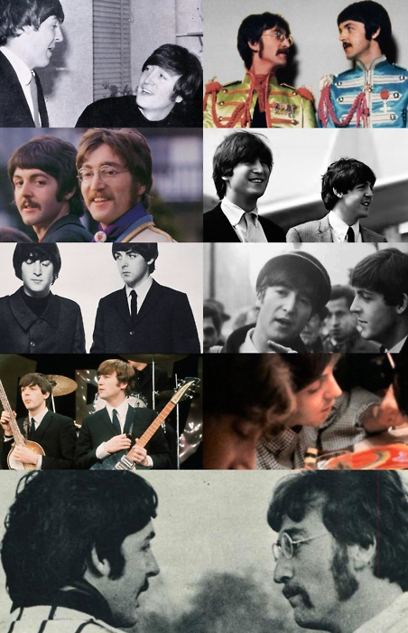 """""""John Lennon and Paul McCartney - Through the years"""" // Those of you that have been following my pins on this board: study these carefully....what do you think? Can you tell by looking at them which are from after late 1966?"""