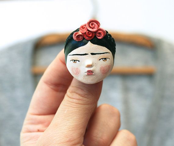 ONE OFF Frida Kahlo inspired doll face brooch or necklace - wearable art by sweetbestiary