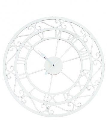 Nástěnné hodiny kov - bílé, průměr 55 cm Kliknutím zobrazíte detail obrázku.