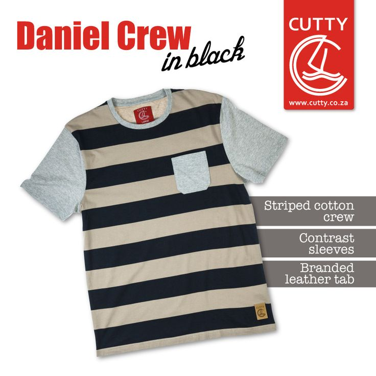 It's the season to do stripes! Cutty's proud to introduce its new and uber hot member to the collection - the Daniel Crew. Made from a cool cotton fabrication, this trendy tee sports a striped design with contrast sleeves and chest pocket, plus a leather branded tab on the front.