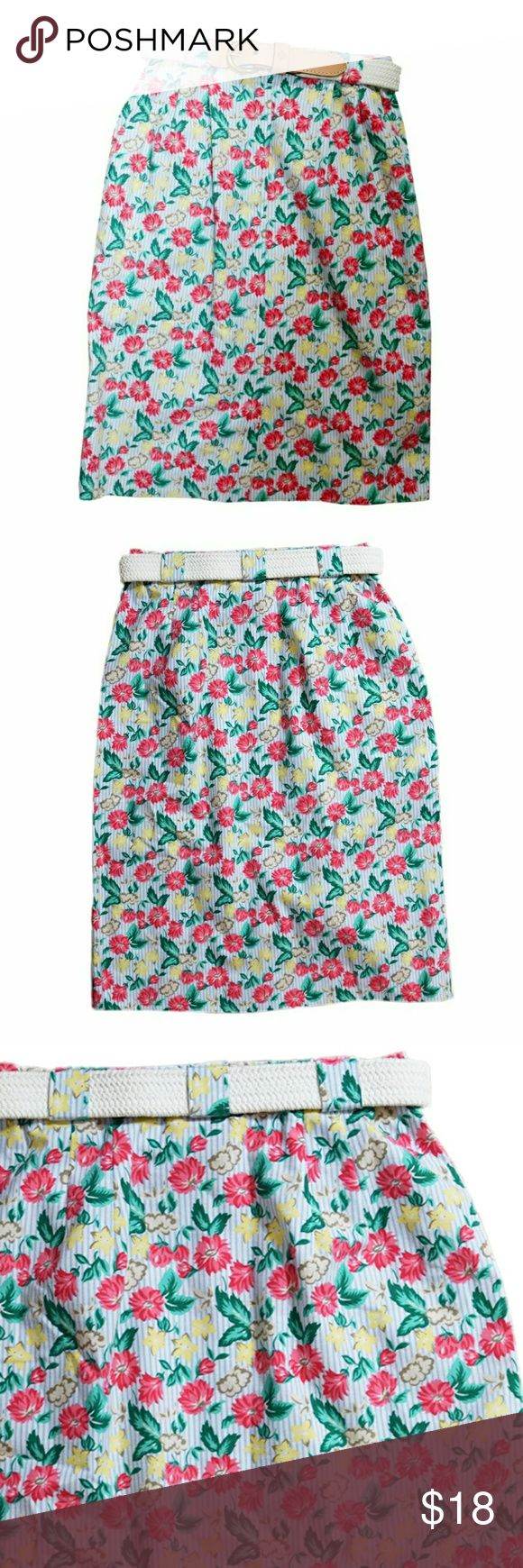 Vintage Pendleton Sophisticates Floral Skirt Vintage Pendleton Sophisticates Floral Skirt. 75 % Cotton, 25 % Polyester. Pockets!!! Size 4 Petite. Belt not original to skirt, but is included with purchase of skirt! Vintage Skirts