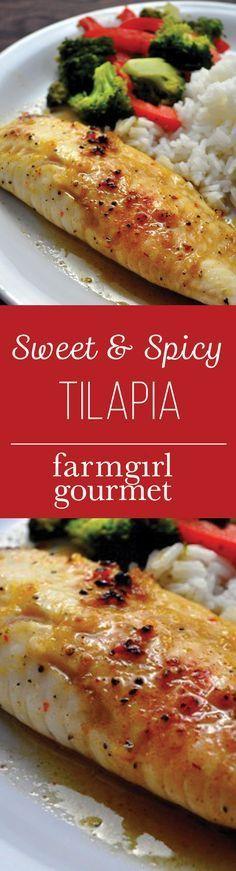 Sweet and Spicy Tilapia Recipe | farmgirlgourmet.com