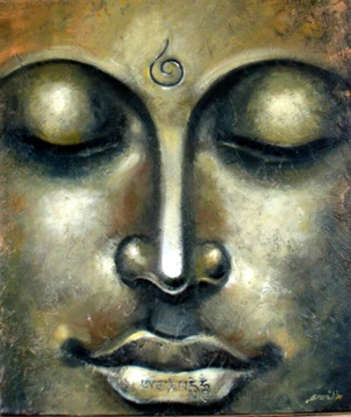 Gautama Buddha - J. Kalidass, Gallery of Gnani Arts  .  Hatred does not cease by hatred, but only by love:this is the eternal rule.  .  Buddha