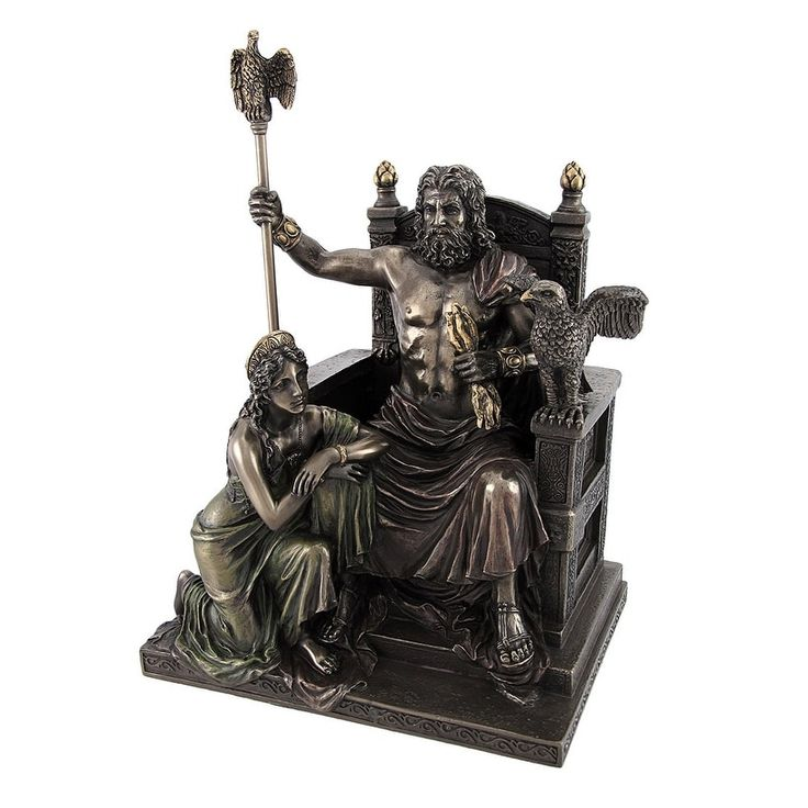 Bronzed Zeus and Hera at the Throne Statue with Colored Accents, Gold