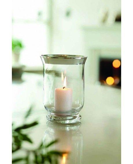 Herstal Tara Hurricane kynttilälasi hopeoitu reunus 15 cm