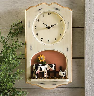 Farmhouse Country Cow Kitchen Wall Clock