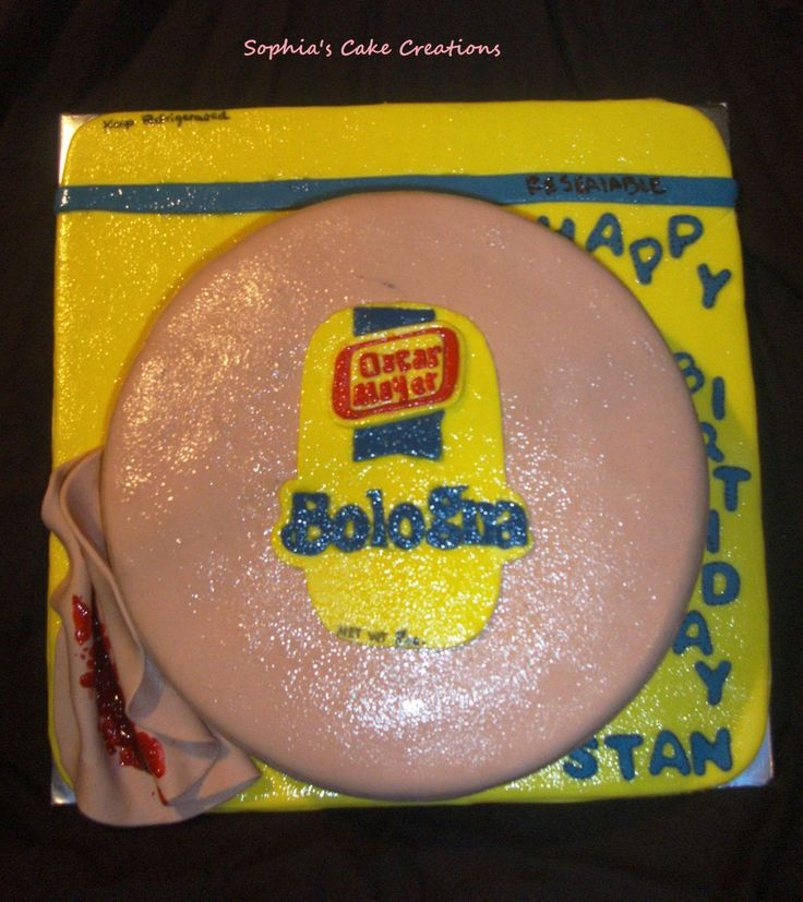 Oscar Mayer Bologna Cake - This cake was made for a gentlemans birthday who loves Bologna, especially wrapped with Ketchup in it.  Didn't come out exactly how I wanted it to but over all I am happy with it.