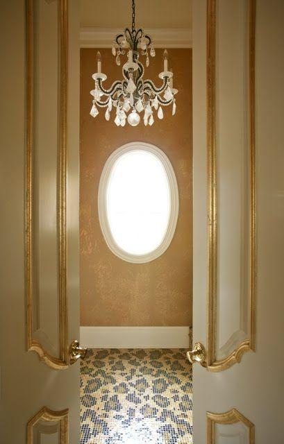 leopard tile floor!Doors, Powder Room, Interiors Design, Tile Floors, Design Bedrooms, Leopards Prints, Bathroom, Mosaics Tile, Cheetahs Prints