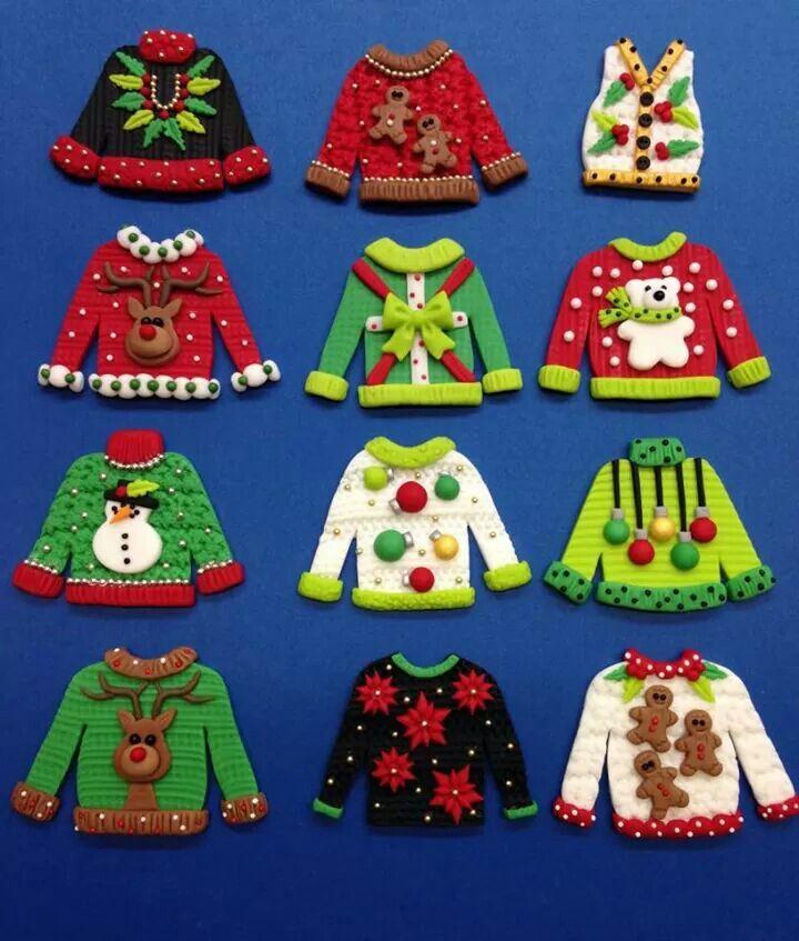 Fondant christmas sweaters