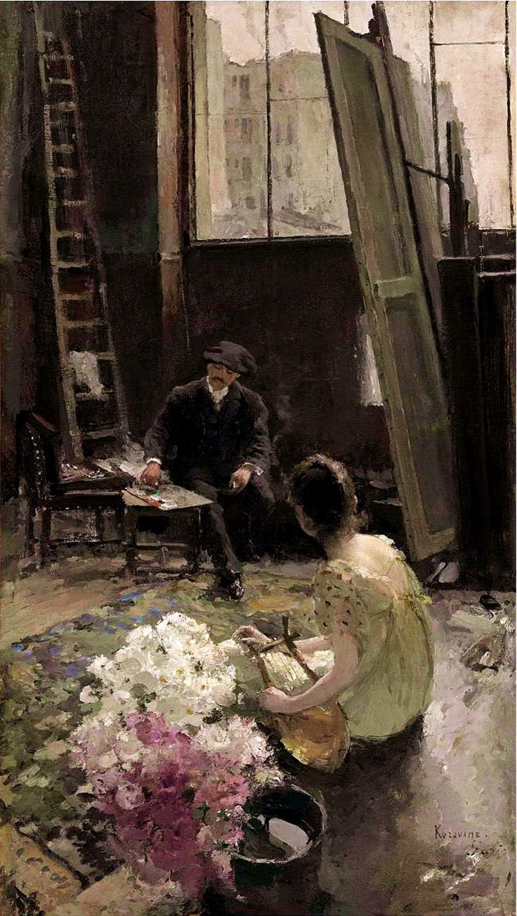 Konstantin Korovin (Russian, 1861-1939) In the Artist's Studio, Paris. Oil on canvas. n/d. (via)