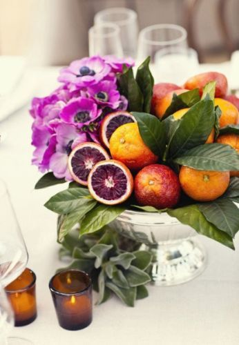 Blood oranges will be incorporated into the compote centerpieces....