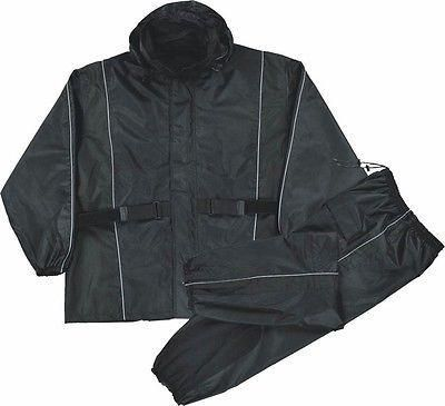 MOTORCYCLE RAIN GEAR MEN'S RAIN SUIT WATERPROOF LIGHTWEIGHT BLACK COLOR