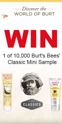 Win 1 of 10,000 #Burt's #Bees' Classic Mini #Samples! #competition