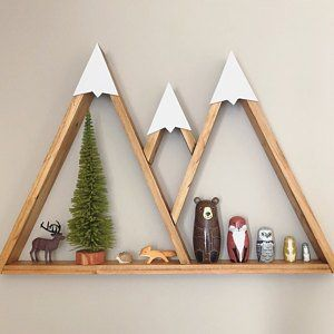 Geometric Woodland Nursery Room Decor Snow Peak Mountain Shelf Forest Reclaimed Wood Triangle