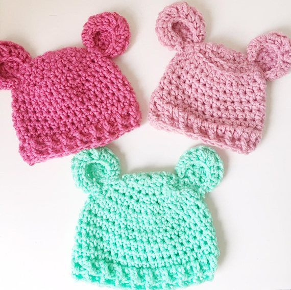 Check it out this gorgeous #crochet #bear #beanie for #preemies and #newborns. Comes in #pink #lightpink and #green. Lovely idea as a #babyshower #gift