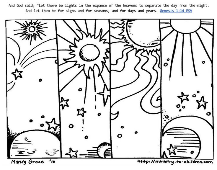 These Coloring Sheets Highlight Gods Creation Of Day And Night When